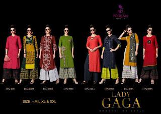 Poonam Designer Lady Gaga Kurtis With Palazzo