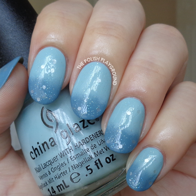 Blue Gradient with Soft White Glitter Nail Art