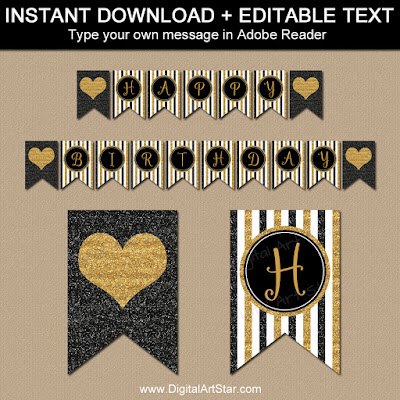 50th birthday banner printable - black and gold glitter