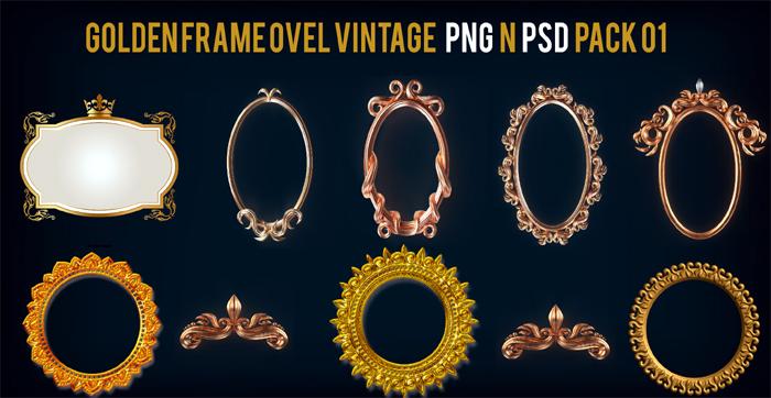 Golden Frame Ovel Vintage PNG n PSD Pack 01
