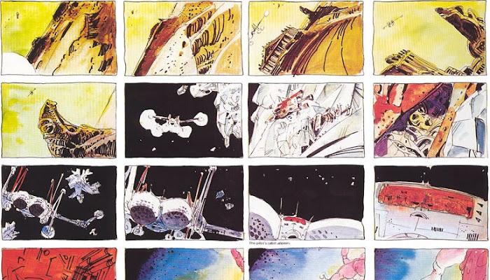 Storyboards e arte conceitual de Moebius para o Duna de Jodorowsky