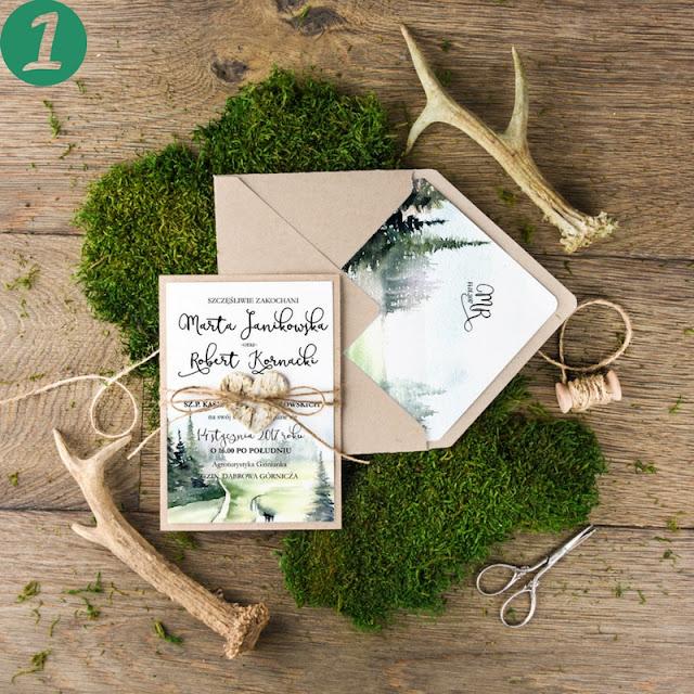 leśne zaproszenia ślubne, motyw roślinny zaproszenia ślubne, zaproszenia ślubne zieleń i drewno