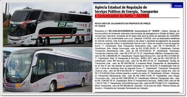 Rota Transportes e Transoares Transportes vencem licitação para na Bahia