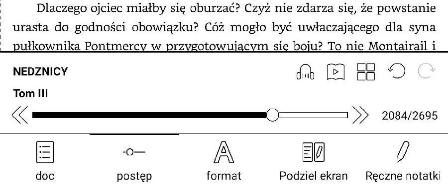 W dolnym menu e-booka znajduje się suwak do nawigacji i przycisk powrotu do ostatnio wybranego miejsca w ksiażce