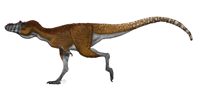 Alexander Vieira's life reconstruction of the tyrannosaurid species Qianzhousaurus sinensis based on a skeletal by Ashley Patch
