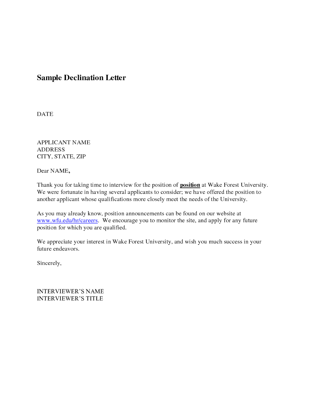 experienced - Professional Cover Letter Sample