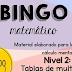 """JUEGO """"BINGO MATEMÁTICO"""" DE TABLAS DE MULTIPLICAR."""