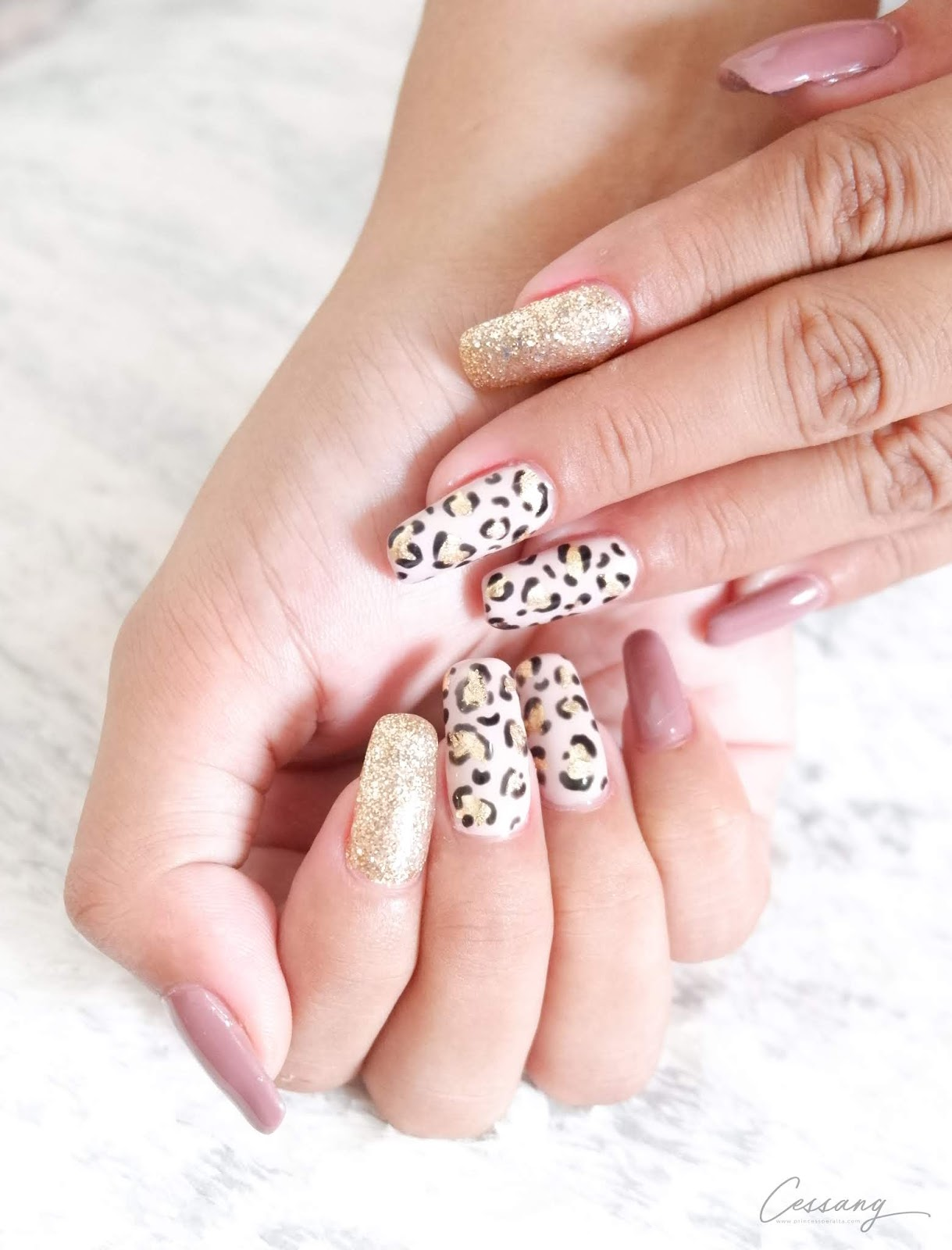 CESSANG NAIL ART COLLECTION - GOLD & BLACK LEOPARD GEL MANICURE