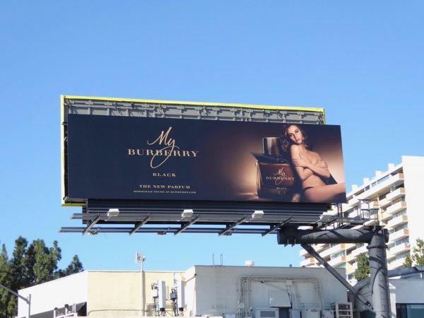 Lily James My Burberry Black perfume billboard
