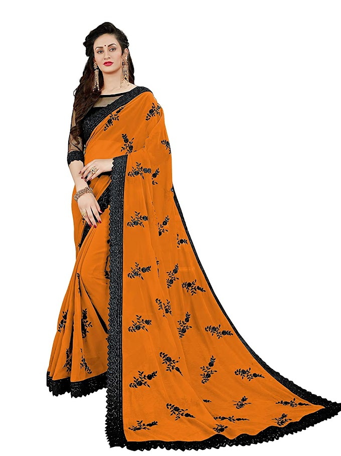 Manohari Women's Embroidered Georgette Saree with Blouse Piece