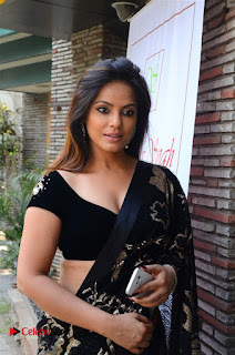 Actress Neetu Chandra Stills in Black Saree at Designer Sandhya Singh's Store Launch  0002.jpg