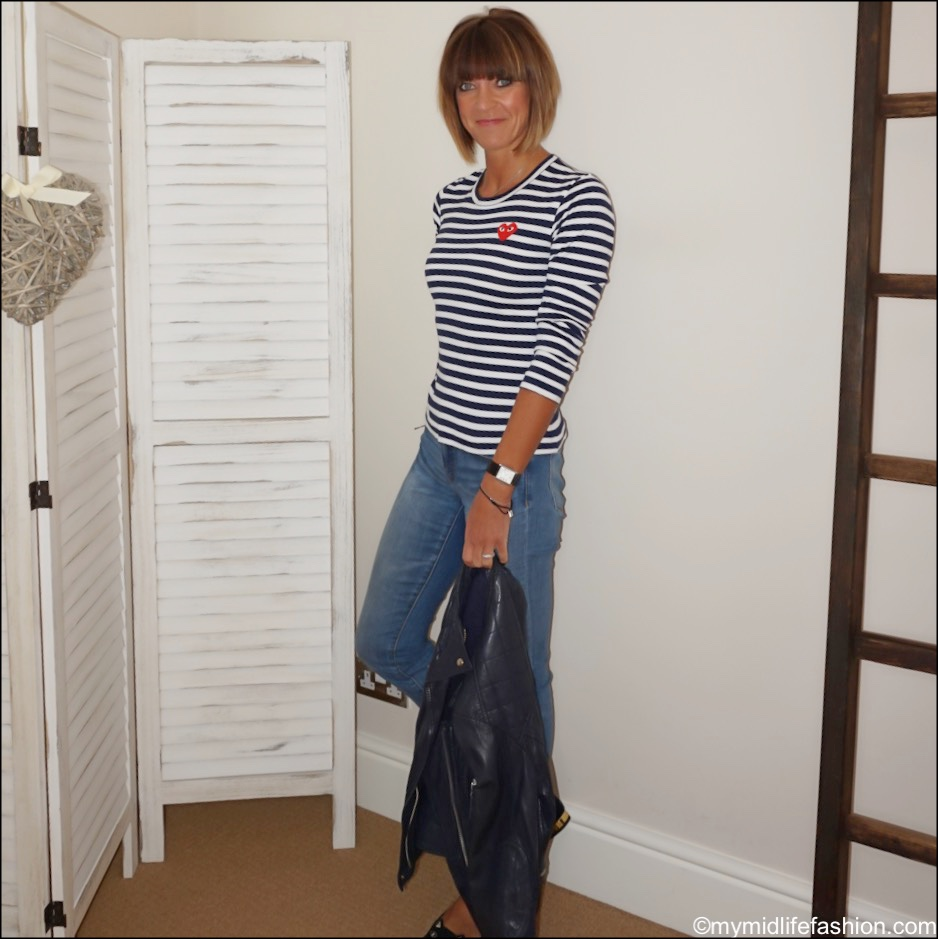 my midlife fashion, comme des garçons play stripe crew neck t shirt, Isabel Marant Etoile leather biker jacket, j crew distressed skinny jeans, Charlotte Olympia kitty flats