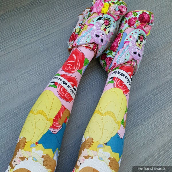 floral cat heeled shoes worn with disney beauty and the beast tights