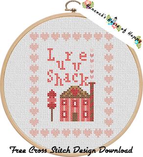 love shack valentine cross stitch sampler
