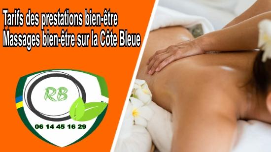 Tarifs des prestations bien-être - Massages bien-être sur la Côte Bleue;