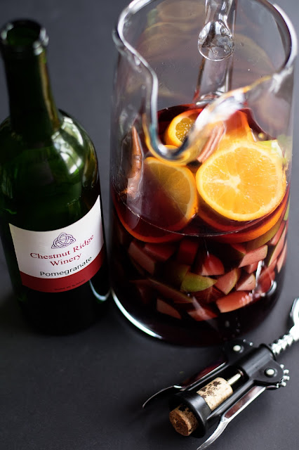 The fruit and wine are steeping for the Simple Sangria.