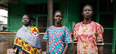 Three Mundri South Sudan African Women in Traditional Ankara or Kitenge fashion