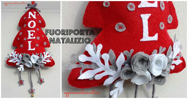 Fuoriporta natalizio in pannolenci con rose e stelline pendenti con iniziali