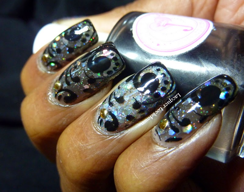 Lacquer Lockdown - Lynnderella Shapeshifter, Lynnderella, nail art stamping blog, new years eve nail art, new year's even, sparkly glitter nail art, pueen nail art stamping plates, pueen 59, nail art stamping, Jolie Polish Black Crelly, nail art ideas, diy nail art, cute nail art ideas, abstract nail art