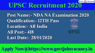 UPSC NDA NA Exam Notification 2020 @govtjobsvacancy.in