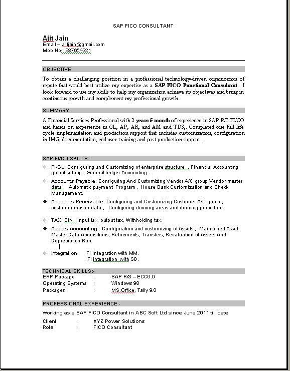 sap fico consultant fresher resume sample