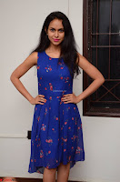 Pallavi Dora Actress in Sleeveless Blue Short dress at Prema Entha Madhuram Priyuraalu Antha Katinam teaser launch 048.jpg