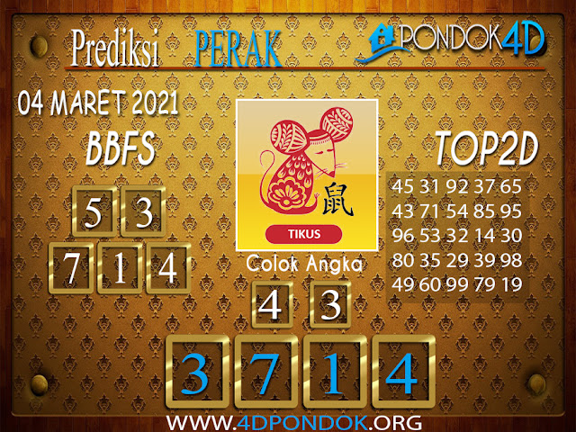 Prediksi Togel PERAK PONDOK4D 04 MARET 2021