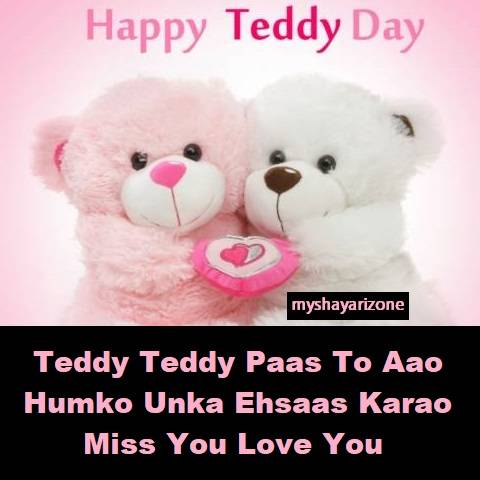 Best Cute Lovely Teddy Day Shayari Wish Hindi Whatsapp Status Image