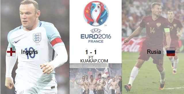 Hasil Skor Akhir Inggris VS Rusia 1-1 Serta Video GOL Uefa Euro 2016