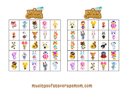 free printable animal crossing bingo