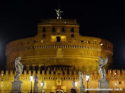 Castel Sant'Angelo de noite, visto da Ponte Sant'Angelo