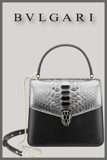 Bvlgari Serpenti Forever crossbody bag in dark silver python skin #brilliantluxury
