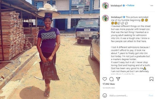 I Hawked bread to Further my Education Into University- Actress Biola Adebayo reveals