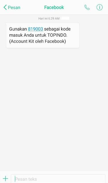 kode verifikasi SMS Topindo
