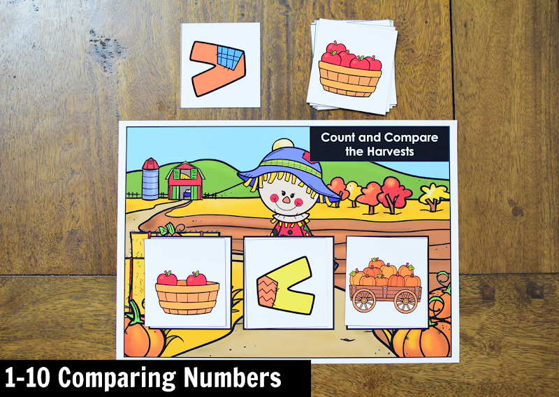 November Kindergarten Math Activity Center: 1-10 Comparing Numbers