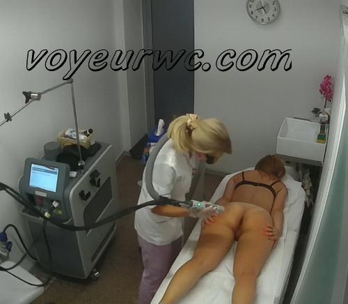 Beauty salon employee makes colleague laser epilation. Hidden cam in the beauty shop (Intimate Waxing BG 56-63)