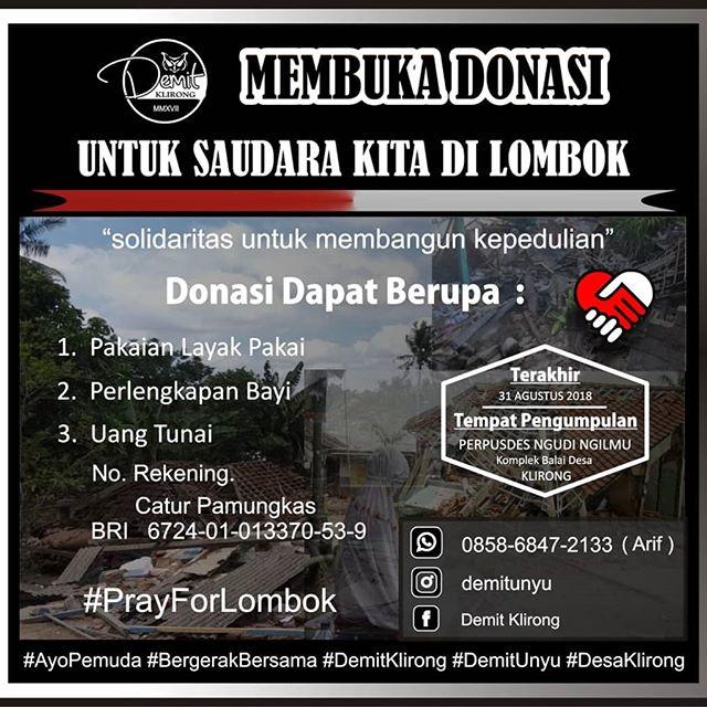 Demit Klirong Membuka Donasi Untuk Korban Bencana Gempa Di Lombok