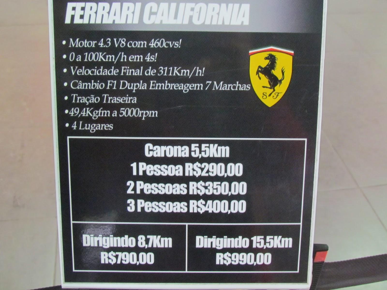 Quanto custa alugar uma Ferrari