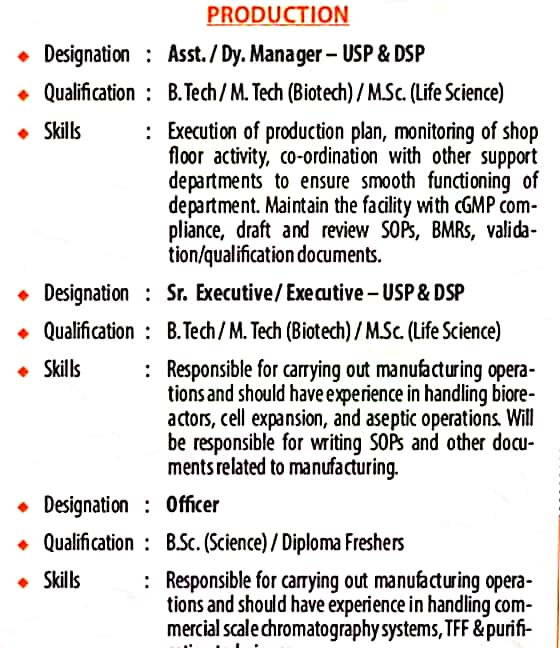 Freshers Diploma, B.Tech, M.Tech, B.Sc, M.Sc Job Vacancy Walk In Interview For Biological E. Limited Production Department
