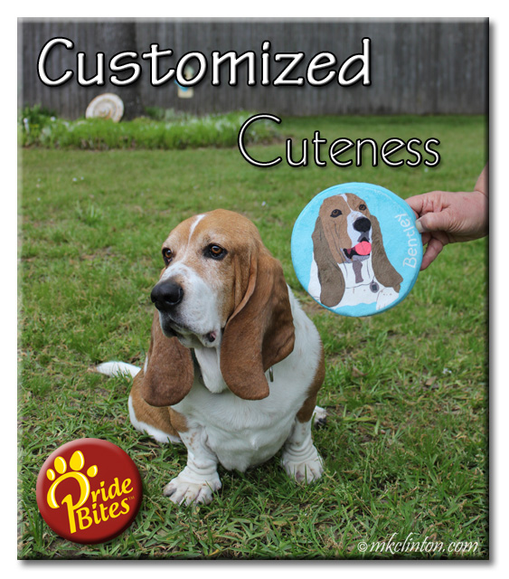 Basset with PrideBites customized dog disc toy