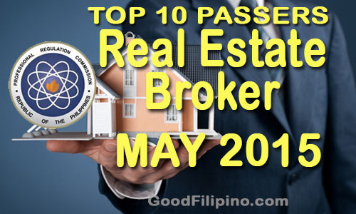 May 2015 TOP 10 Real Estate Broker Board Exam Passers