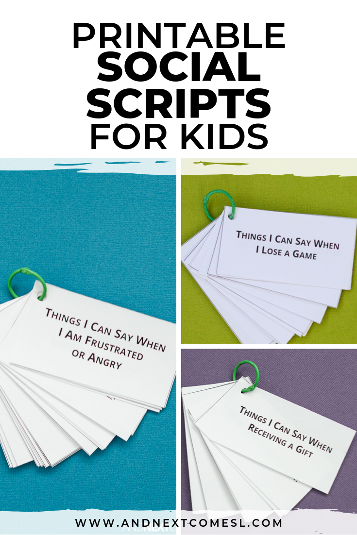 Social scripts printables for kids with autism to practice and learn conversational language