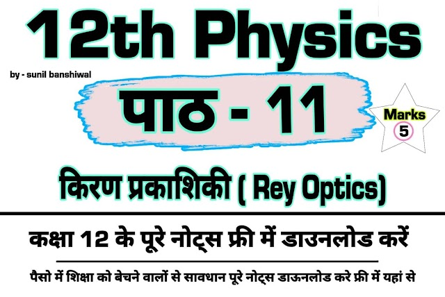 Ray optics 12th Physics Notes Pdf  Download किरण प्रकाशिकी chapter 11