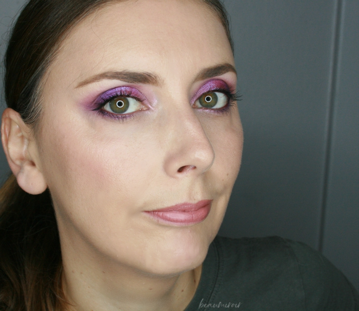 full face look with amethyst obsessions palette huda beauty eyeshadow