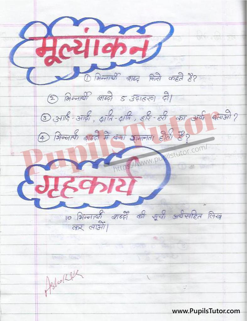 Bhinnarthak Shabd Lesson Plan in Hindi for B.Ed/DELED | भिन्नार्थक शब्द पाठ योजना हिंदी