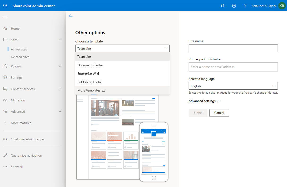 sharepoint online create classic team site