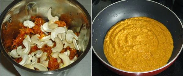 onion, tomato and cashews ground to paste