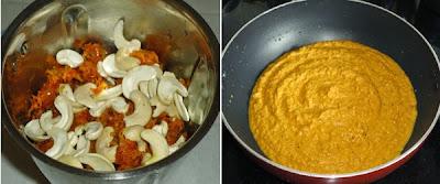onion, tomato and cashews ground to paste