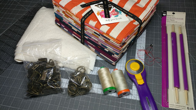 Supplies for making canvas key fobs or key chains