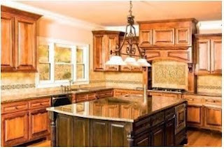 Kitchen with large island.